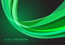 Abstract Green Glass Curve Light Design Modern Futuristic Luxury Background Vector Illustration.