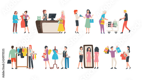 Canvas Old collection sale, fashion industry and shopping vector