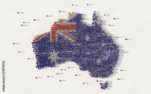 Large group of people forming Australia map and national flag in social media and communication concept on white background Canvas Print