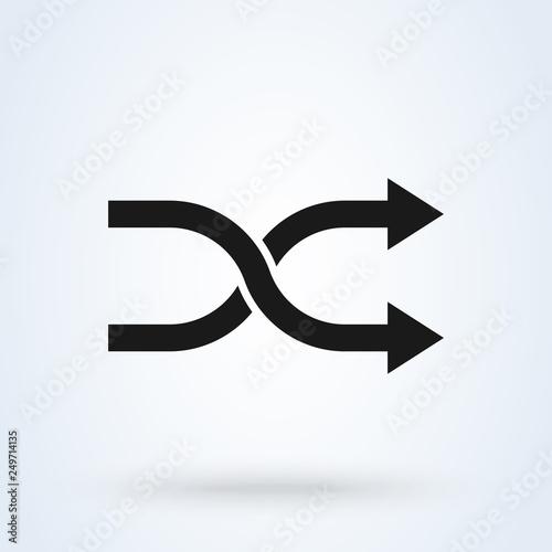 Fotografie, Obraz  shuffle Random vector icon isolated on background
