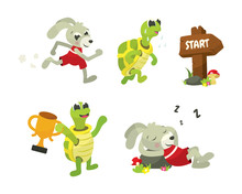 The Tortoise And The Hare Character Illustration Collection