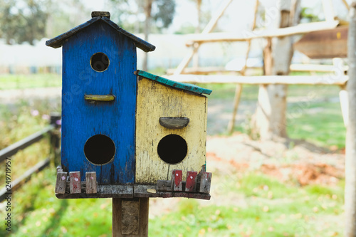 Canvas Print blue yellow wooden bird house home birdhouse