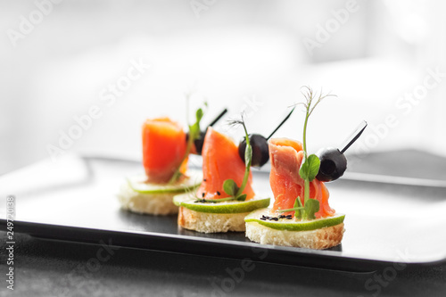Gourmet appetizers with red fish and lime and sesame Wallpaper Mural