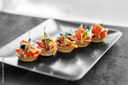 Delicious salad in tartlets Canvas Print
