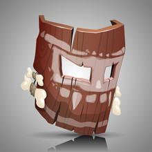 Wooden Mask, Vector Illustration