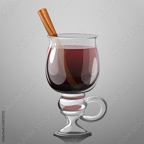 Fototapeta Glass of mulled wine, vector illustration