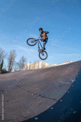 BMX jump in a wooden ramp