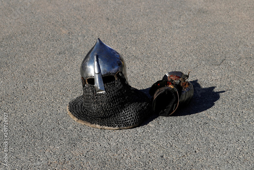 An helmet is seen before the Buhurt Prime tournament of medieval