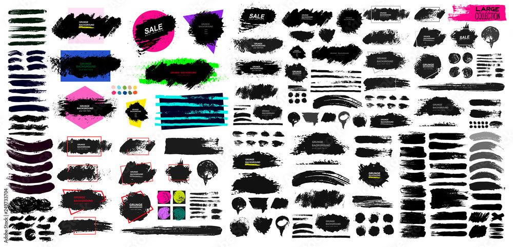 Fototapety, obrazy: Set of black paint, ink brush, brush. Dirty element design, box, frame or background for text. Blank shapes for your design. Line or texture. Vector illustration. Isolated on white background.