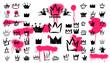 Mega Set of Crown logo graffiti icon. Black elements Freehand drawing. Vector illustration. Isolated on white background.