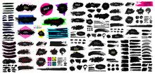 Set Of Black Paint, Ink Brush, Brush. Dirty Element Design, Box, Frame Or Background For Text. Blank Shapes For Your Design. Line Or Texture. Vector Illustration. Isolated On White Background.