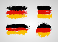 Set Of Germany Flag. Germany Flag Painted By Brush Hand Paints. Design Element Art Flag. Painted Texture, Made Of Brush Strokes. Vector Illustration. Isolated On White Background