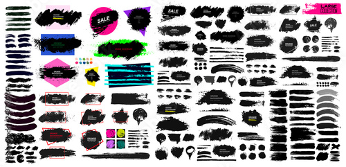 Obraz Set of black paint, ink brush, brush. Dirty element design, box, frame or background for text. Blank shapes for your design. Line or texture. Vector illustration. Isolated on white background. - fototapety do salonu