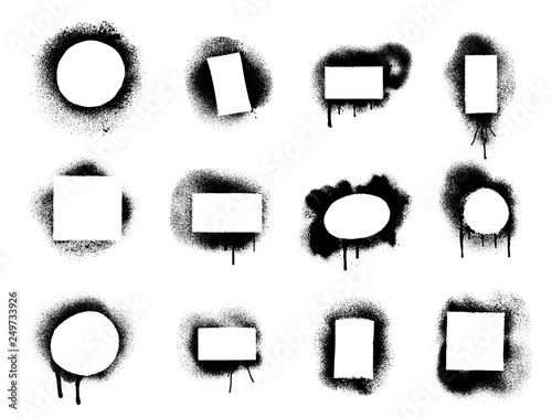 Photo Stands Graffiti Set of Spray graffiti stencil template rectangle, circle, square. Vector illustration. Isolated on white background