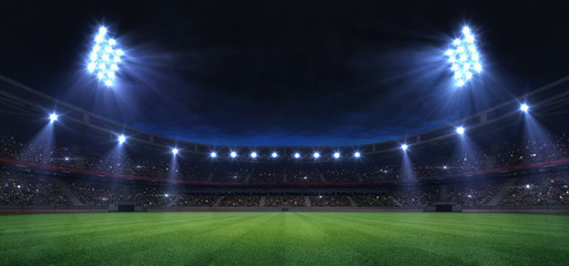 universal grass field stadium illuminated by spotlights and empty green grass playground, grand sport building digital 3D background advertisement background illustration