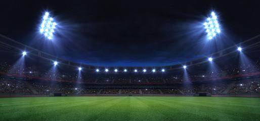 universal grass field stadium illuminated by spotlights and empty green grass playground, grand sport building digital 3D background advertisement background illustration