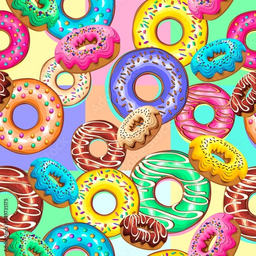 In de dag Draw Donuts Sweet Treats Party Seamsless Pattern Vector Design
