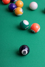 Billiard Balls On A Green Table Close-up