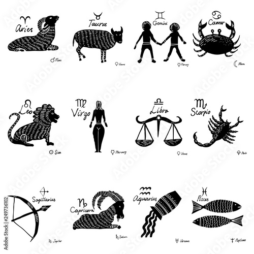 Obraz The zodiac set. 12 horoscope constellations with connected symbols, drawings and planets with names. Vector. - fototapety do salonu