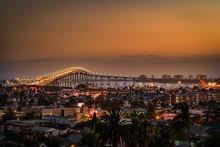 CORONADO BRIDGE PANO, SUNSET