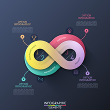 Creative Infographic Design Template In Shape Of Infinity Sign With 4 Options, Thin Line Symbols And Text Boxes. Concept Of Infinite Business Process. Vector Illustration For Presentation, Brochure.