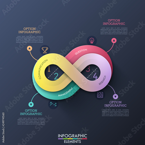 Fotografía  Creative infographic design template in shape of infinity sign with 4 options, thin line symbols and text boxes