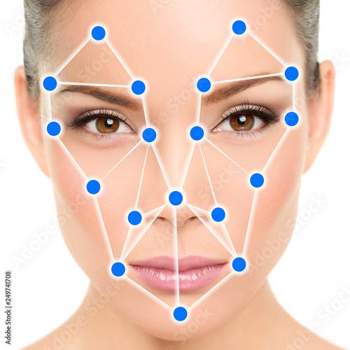 Asian woman portrait biometric facial recognition software app
