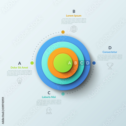 Fotografía  Circular chart with four round elements placed one inside other, thin line symbols and lettered text boxes