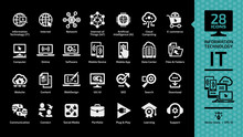 Information Technology Glyph Icon Set On A Black Background With IT Network System, Internet Of Things, Artificial Intelligence, Cloud Computing, E-commerce, Computer Tech And Communication Symbols.