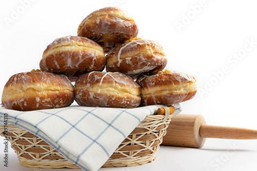 Fotografie, Obraz  Tasty doughnuts with jam on white background