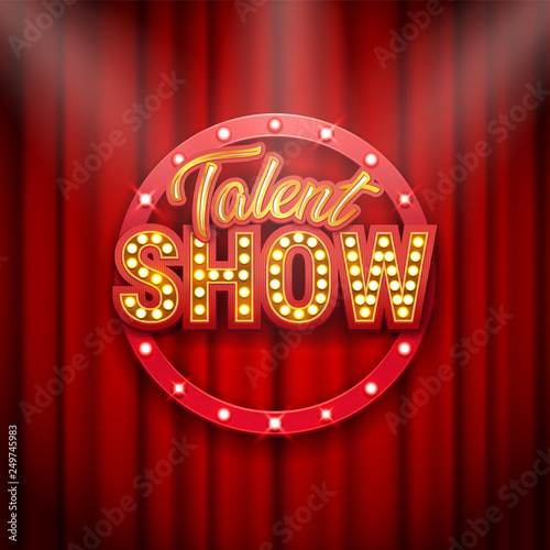 Obraz Talent show banner, poster, gold inscription on red curtain - fototapety do salonu