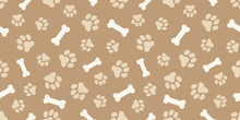 ホネと犬の足跡のパターン (Paw Prints & Dog Bone Pattern. Vector Illustration)