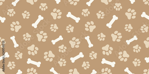 obraz lub plakat ホネと犬の足跡のパターン (Paw Prints & Dog Bone Pattern. Vector Illustration)