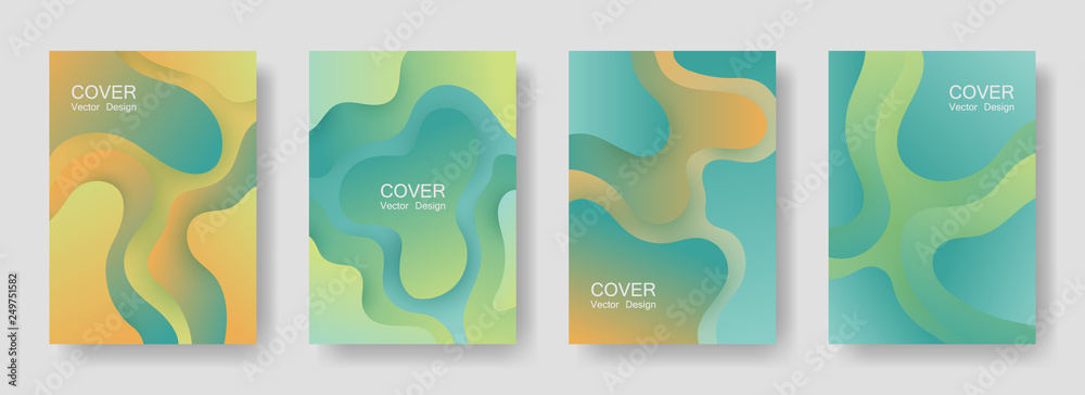 Fototapety, obrazy: Gradient liquid shapes abstract covers vector set. Trendy brochure backgrounds design. Organic bubble fluid splash shapes, oil drop molecular mixture concept pattern. Cover layouts.