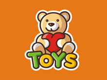 Toys Logo. Vector Template Of A Bear. Children's Shop. Positive Character. Colored Background.
