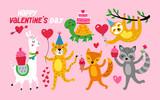 Fototapeta Fototapety na ścianę do pokoju dziecięcego - Valentine's day cute animals set