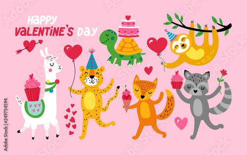Valentine's day cute animals set