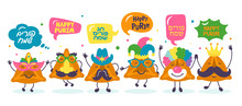 Purim Holiday Cute Hamantaschen Cookies Funny Cartoon Characters Set.