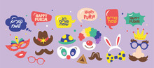 Purim Holiday Cute Carnival Costume Masks And Elements Set.