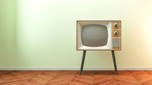Retro Old Tv On Background 3D ...