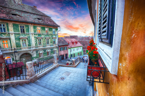 Foto auf Gartenposter Altes Gebaude Fantastic sunset on Ocnei street neat to the Small Square in Sibiu