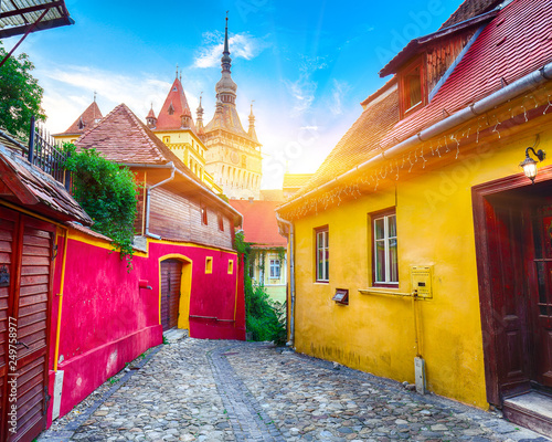 Printed kitchen splashbacks Eastern Europe The Clock Tower and famous medieval fortified city built by Saxons in Sighisoara.