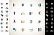 Human resources. Human resources icon set. Vector