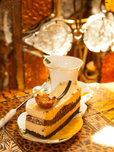 Vienna cake with almond and caramel Canvas Print