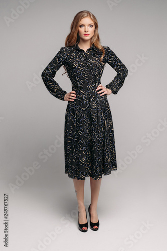 Fotografie, Obraz  Attractive serious woman in long black dress posing in studio and looking at camera