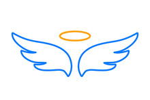 Angel Wings Icon With Nimbus - For Stock
