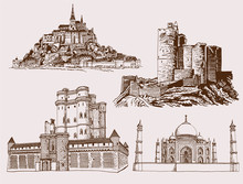 Graphical Vintage Set Of Sightseeing , Famous Castles Of The World,vector Sketch
