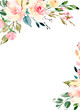 Leinwanddruck Bild - Watercolor flowers, floral frame for greeting card, invitation and other printing design. Isolated on white. Hand drawing.