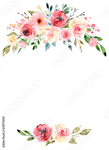 Watercolor Flowers Floral Frame Border For Greeting Card