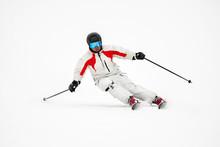 Skier On Piste In Mountains